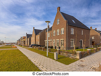 Brand new houses in a residential area