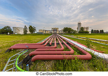 colored pipes on an industrial site