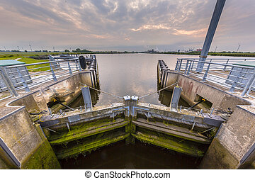 Locking chamber in a major waterway. These kind of...