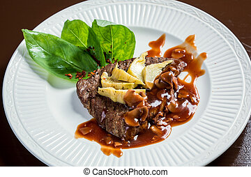 Juicy veal steak with artichokes - Juicy veal steak with...