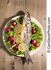 Fish with Vegetables - Roasted fish with a variety of...