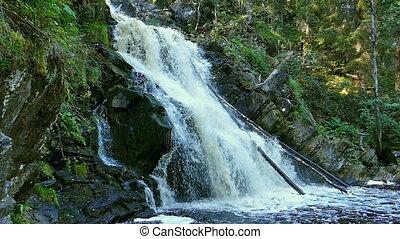 Yukankoski waterfall in Karelia, slow motion - Yukankoski...
