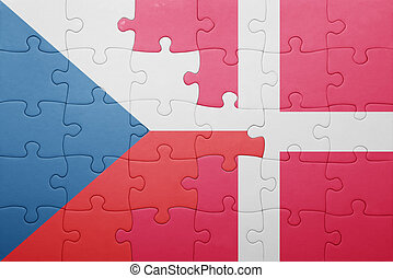 puzzle with the national flag of czech republic and denmark