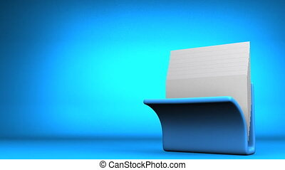 Folder And Documents - Blue Folder And Documents On Blue...