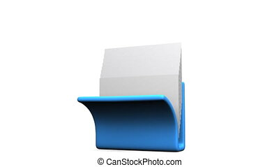 Folder And Documents - Blue Folder And Documents On White...