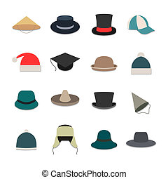 Icons hats - Set of sixteen icons hats isolated on white...