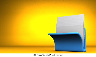 Folder And Documents - Blue Folder And Documents On Yellow...