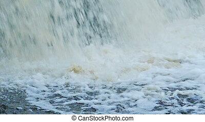 waterfall rocks, slow motion