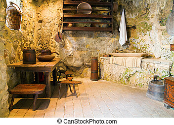 Country kitchen - Kitchen interior in historic Croatian...