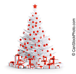 White christmas tree with gifts isolated 3d render