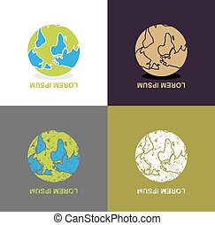Inverted Earth - logo for travel company. Planet inverted...