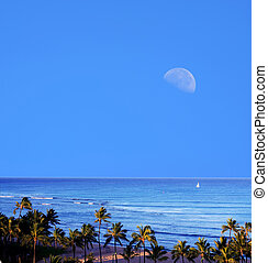 Waikiki Moonrise Honolulu Hawaii - Moonrise high angle...