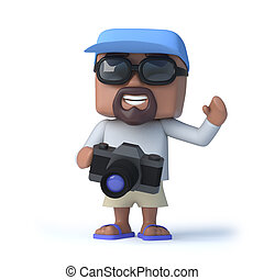 3d Sailor dude has a camera - 3d render of a man dressed for...