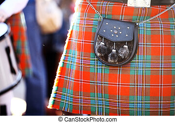 Scottish kilt - Color detail of a traditional Scottish kilt,...