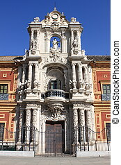 Facade of Saint Telmo Palace in Sevilla, Spain