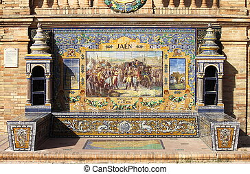 Tiled bench in Plaza de Espana of Sevilla - A tiled bench in...