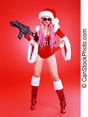 mobster - Expressive sexy babe dressed as Santa Claus...