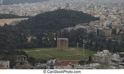 Temple of Olympian Zeus - Panoramic view of the Temple of...