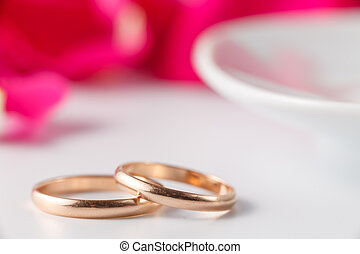 Golden wedding rings with rose petals - Wedding banner...