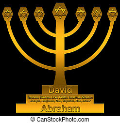 menorah - A menorah with forefathers