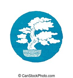 Bonsai silhouette over a blue watercolor background Vector...