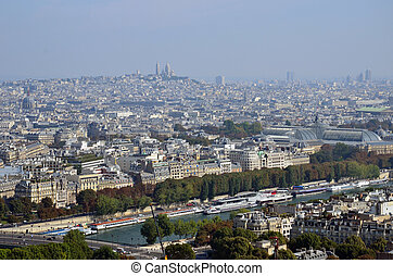 aerial view of Paris from the Eiffel tower