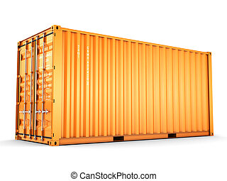 Isolated cargo container on the white background