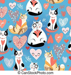 Seamless bright pattern with lovers cats and hearts on a...