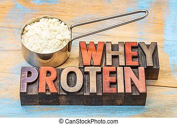 scoop of whey protein powder