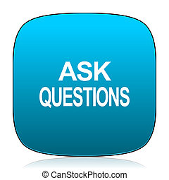 ask questions blue icon