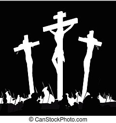 Crucifixion calvary scene in black and white - Calvary...