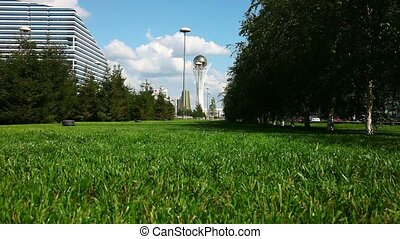 City landscape. - A lawn in the center of Astana, the...
