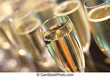 Champagne white wine glasses in wedding party - Champagne...