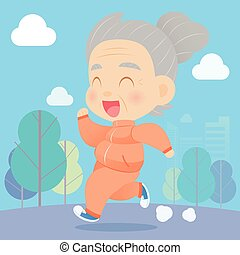 Senior aged woman jogging in the park, Vector catoon
