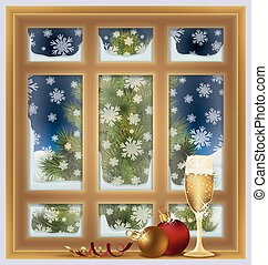 Frosted window and champagne, winter background, vector...