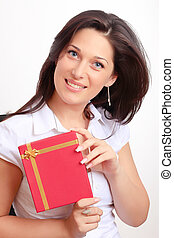 Lady with a gift box