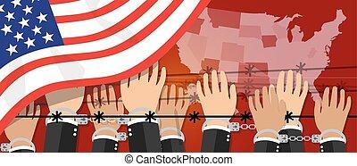 unido, democracia, estados unidos de américa, derechos, libertad, nosotros, estados, puesto manilla, humano, Manos,  América, frontera