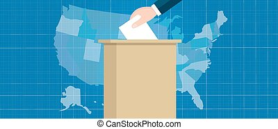 usa map vote election hand holding ballot paper into box US...