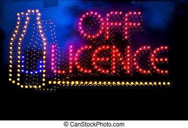 Off licence liquor store neon light sign - Off licence...