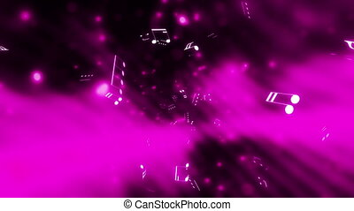 Music notes black white magenta - looping animated music...