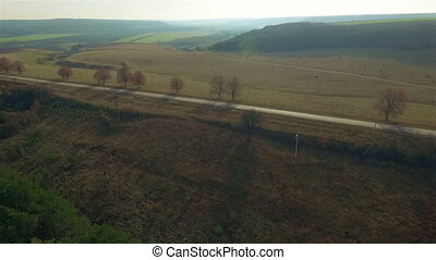 Aerial view of fields and small roads, beautiful Ukrainian...