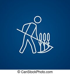 Man mowing grass with scythe line icon - Man mowing grass...