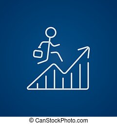 Financial recovery line icon - Businessman with suitcase...
