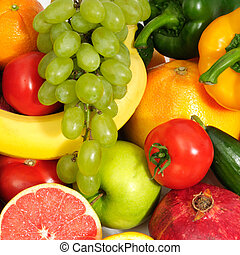 fresh fruits and vegetables isolated on a white background...
