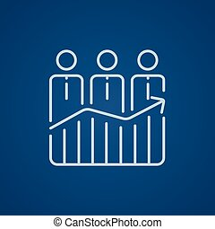 Businessmen standing on profit graph line icon.