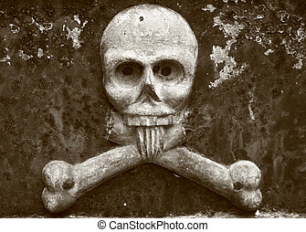 Skull and crossbones on a 19th century grave in Recoleta,...