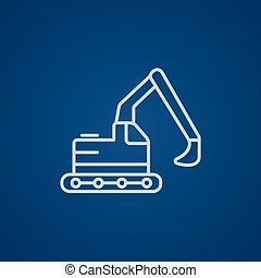 Excavator line icon - Excavator line icon for web, mobile...