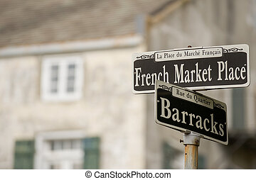 French Market Place sign in the French Quarter, New Orleans