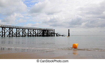 Noirmoutier beach cinemagraph - Pier at Plage des Dames in...