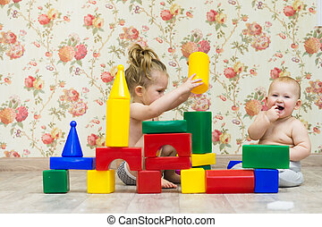 Children build a castle